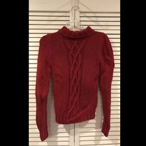 Banana Republic Women's Red Long Sleeve Cable Knit